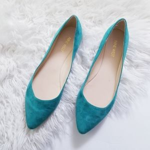 Nine west suede turquoise teal pointed toe flats